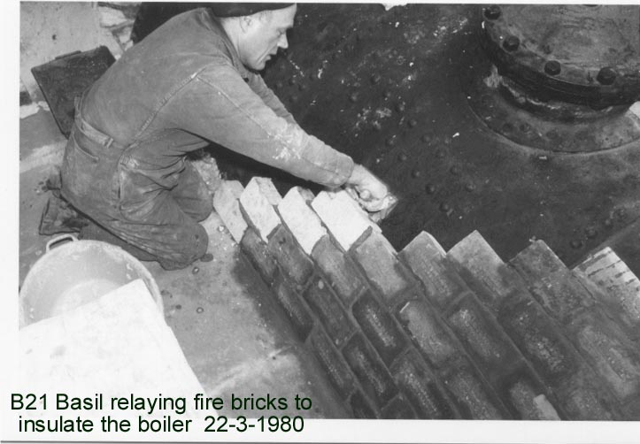 Relaying the fire bricks on the boiler